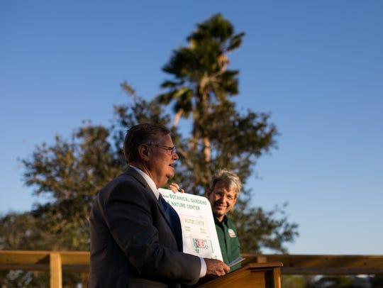 Mayor Joe McComb speaks during the dedication ceremony