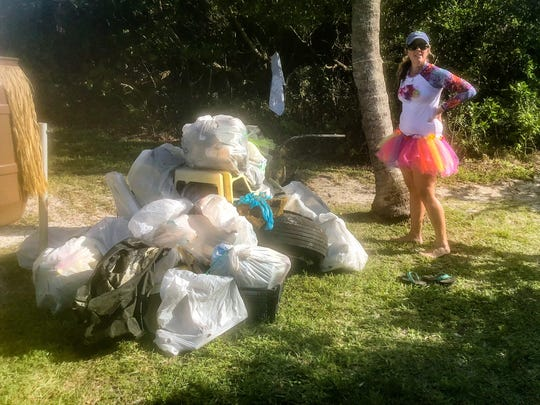 Some of the hundreds of pounds of trash collected by