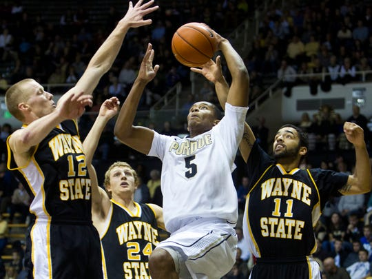 Purdue's Basil Smotherman goes up for two against Wayne State, Nov. 11, 2013.
