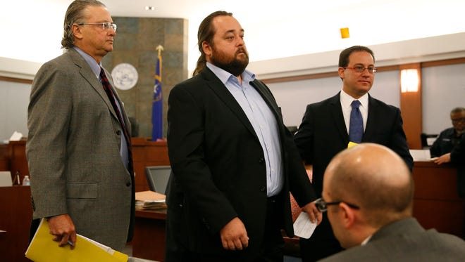 "Austin Lee Russell, center, better known as Chumlee from the TV series ""Pawn Stars,"" appears in court with attorneys David Chesnoff, left, and Richard Schonfeld, Monday, May 23, 2016, in Las Vegas."