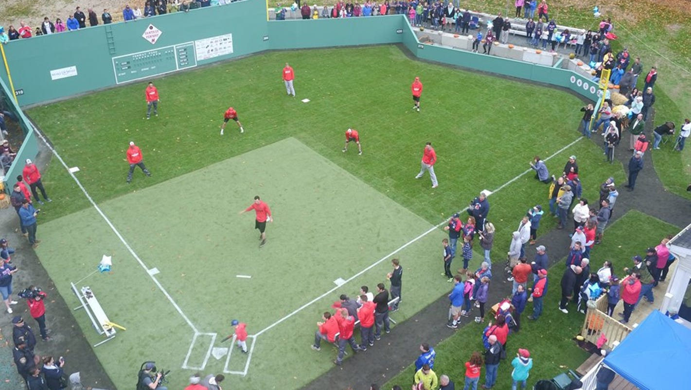 make a wish transforms little boy u0027s backyard into fenway park