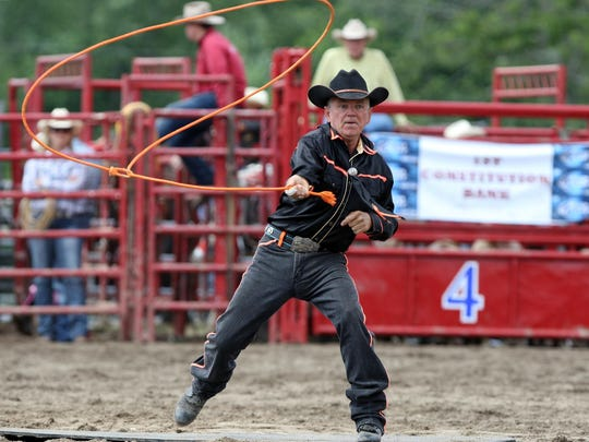 """""""Texas"""" Jack Fulbright of Sarasota, FL, performs roping skills at the 22nd Montgomery Rodeo Sunday, June 7, 2015 in Skillman, NJ, on the grounds of the Daube Farm. Jody Somers / For The Courier News"""