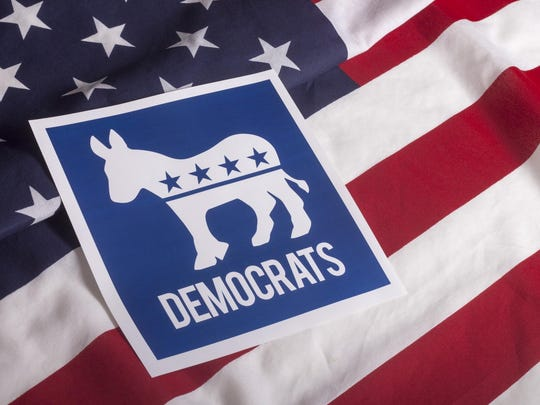 Democrat Election Vote and American Flag