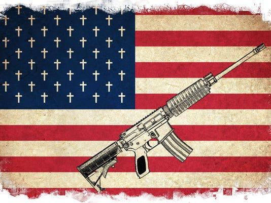 flag and guns