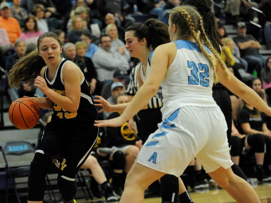 Paint Valley's Baylee Uhrig drives to the basket on