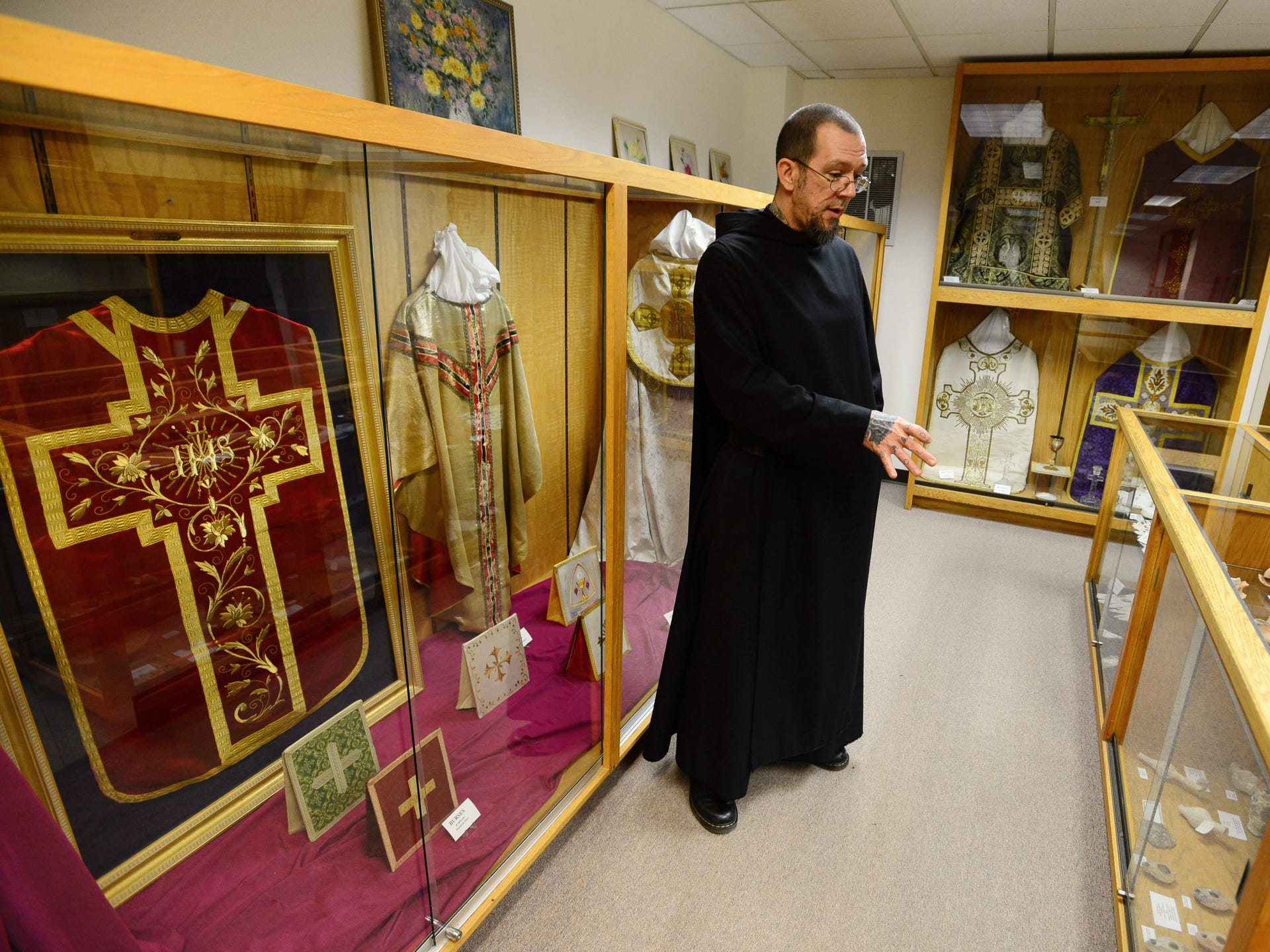 Brother Andre Love, a Benedictine monk, offers a tour