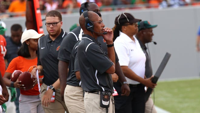 FAMU head coach Alex Wood watches from the sidelines during his team's 24-13 loss to Tennessee State in the FAMU Tampa Classic.