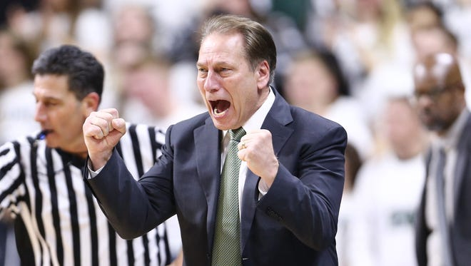 Michigan State Spartans coach Tom Izzo reacts during the game against the Wisconsin Badgers in the second half at the Breslin Center on Feb. 26, 2017 in East Lansing.