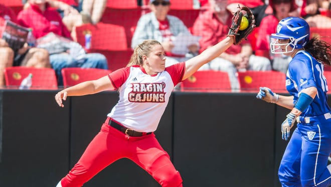 UL first baseman Corin Voinche with the stretch for the out during the Cajuns' sweep of Georgia State last weekend.