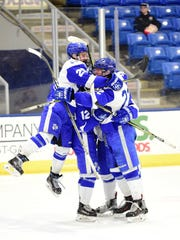 Catholic Central players celebrate after Brendan Miles (12) scored what proved to be the game-winning goal in the final period in a 2-0 win over Stevenson.