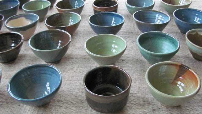 Here are some of the bowls Warwick potters have donated to the Empty Bowls cause.