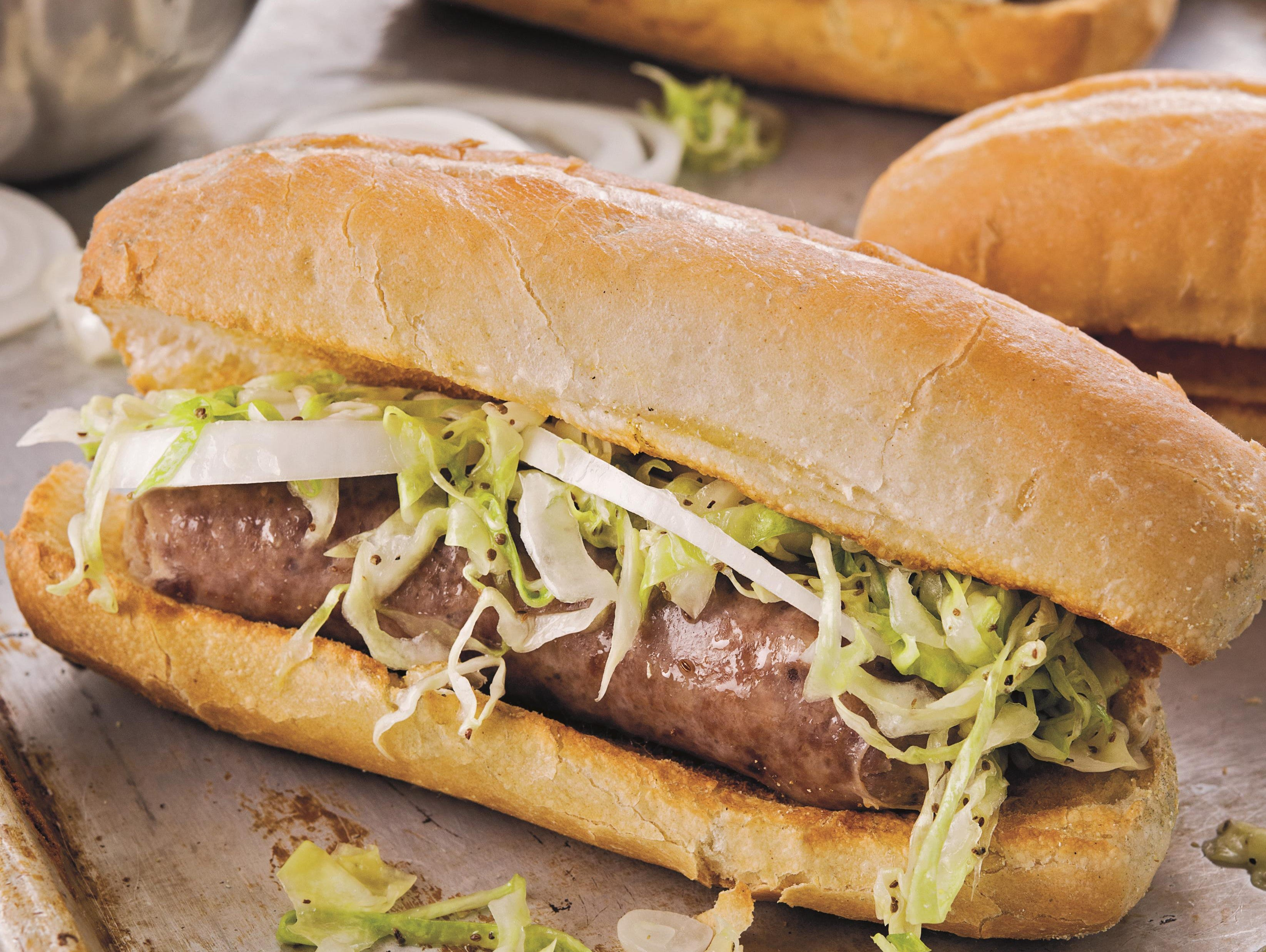 Milwaukee Beer-Braised Bratwurst Sandwich with Pittsburgh-Style Slaw