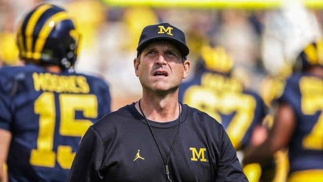 Michigan Wolverines head coach Jim Harbaugh before the opener against Hawaii at Michigan Stadium in Ann Arbor, Michigan, on Saturday, September 3, 2016.