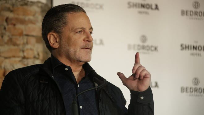 Founder and Chairman of Quicken Loans Dan Gilbert speaks at the groundbreaking for the new Shinola Hotel location on Woodward Avenue in Detroit Tuesday Jan. 31, 2017.