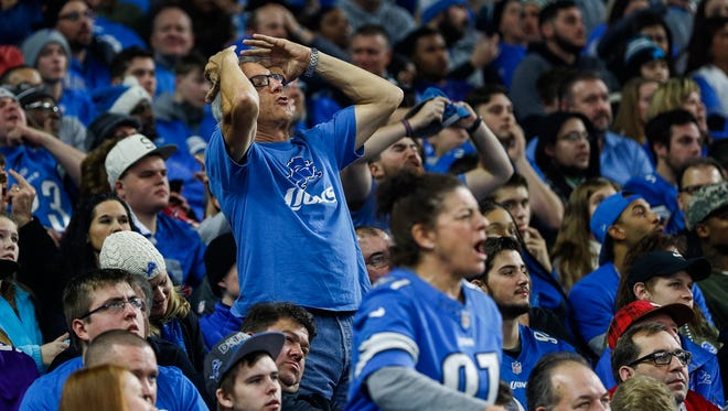 Lions fans react to a call during the second half against Vikings at Ford Field on Nov. 23.