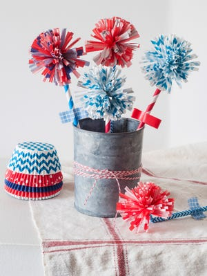 """Firework Flowers, adapted from Kingloff's book, """"Project Kid"""" (Artisan, 2014). The essential supplies are cupcake liners and drinking straws in red, white and blue."""