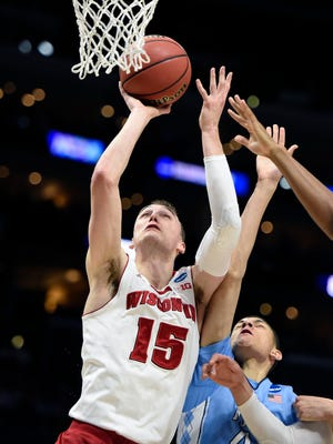 Wisconsin Badgers forward Sam Dekker (15) moves to the basket to score against North Carolina Tar Heels during the first half in the semifinals of the west regional of the 2015 NCAA Tournament at Staples Center.