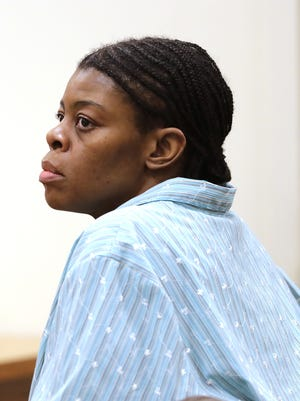 Mastella Jackson, 39, appears in court during opening statements Nov. 3 at the Outagamie County Justice Center. Jackson is accused of stabbing her husband Derrick Whitlow to death in 2012 in a Grand Chute motel.