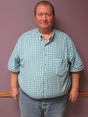 Kevin McFarland of Riverside is pictured before having bariatric surgery in March at Mercy Hospital. His highest weight was 409 pounds; today he weighs less than 200.