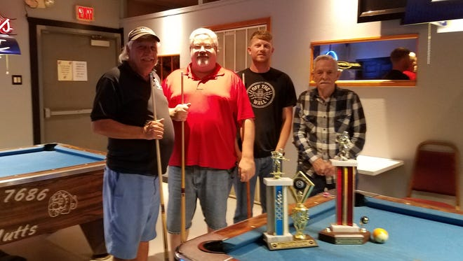 """Winners are from left to right: First place Eagles members Larry """"Smitty"""" Smith and Doug Beard; and second place Eagles members Kevin Ament and Bud Johnson."""