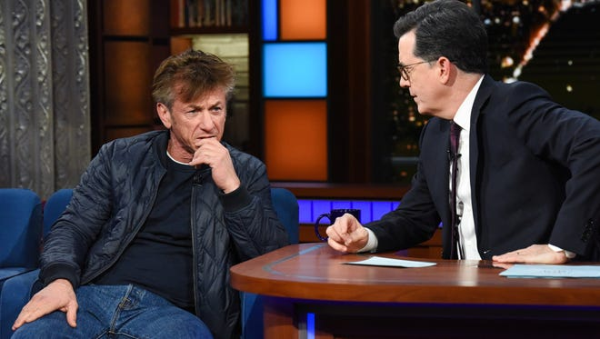 You'll need to air out your clothes after watching Sean Penn puff his way through his 'Late Show' interview.