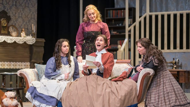 "Clockwise from left, Rina Champlin as Amy, Alex Iverson as Meg, Katherine McCrackin as Jo, and Annette Williams as Marmee perform during a dress rehearsal of ""Little Women"" at Pensacola Little Theatre in Pensacola on Tuesday, April 3, 2018."