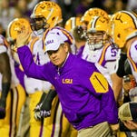 LSU Tigers head coach Les Miles before a game against the Arkansas Razorbacks at Tiger Stadium.