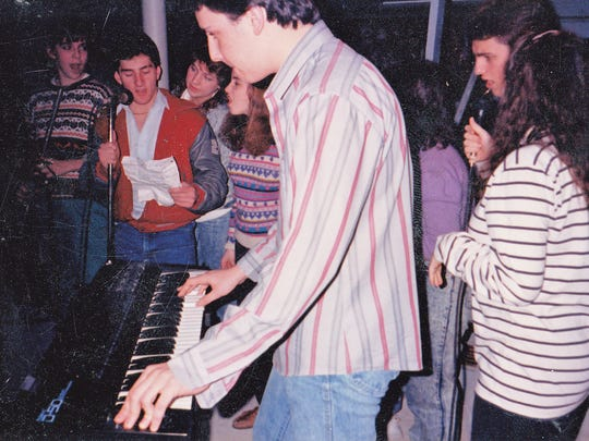 The Fair Lawn High School Boptones practicing in a basement in 1985.
