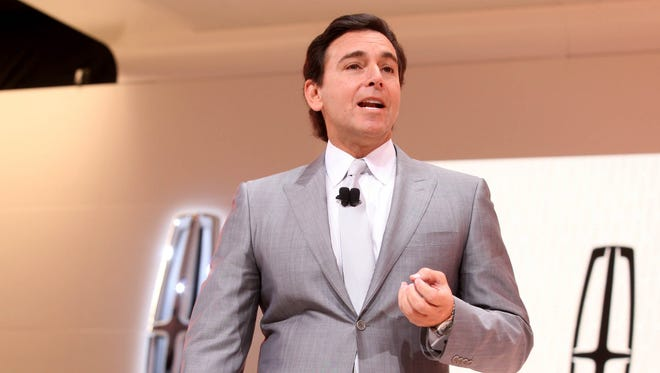 Mark Fields, the president and CEO of the Ford Motor Company, addresses  the automotive press before the reveal of the 2017 Lincoln Continental during the 2016 North American International Auto Show held at Cobo Center in Detroit in January 2016.