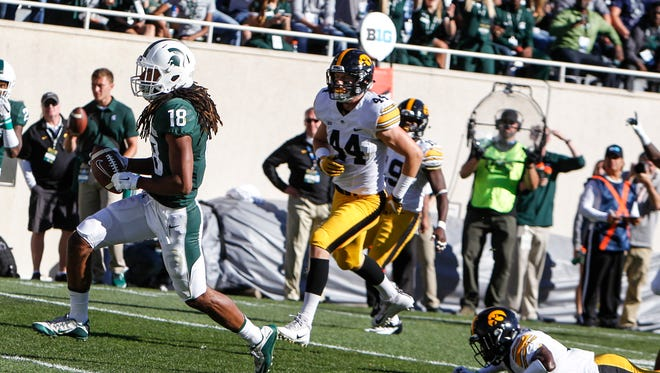 MSU WR Felton Davis, III scampers into the end zone against Iowa for a touchdown Saturday, Sept. 30, 2017, at Spartan Stadium in East Lansing.