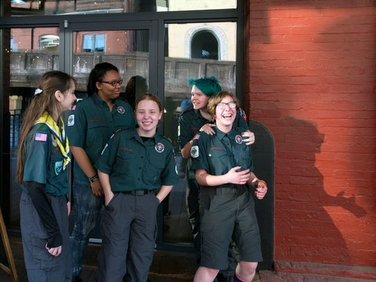 Boy Scouts of America's Chehote District Venturing Crew 701 members, from left, Alyssa Ross, Ky'Andra Turner, Mariah Goosie, Autumn Killion, and Rory Longmire greet guests outside the Jackson Terminal on Thursday, April 12, 2018.