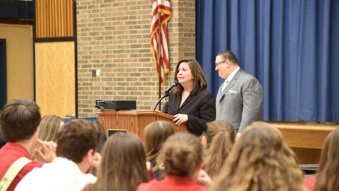 Vineland city councilwoman Angela Calakos and newly elected mayor Anthony Fanucci visited Rossi Intermediate School on Dec. 23 to speak to the eighth-grade civics classes.
