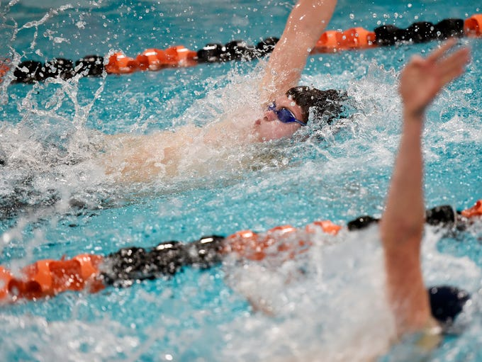 York Suburban's Charles Rogers, top, swims the backstroke