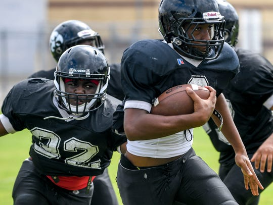 South Side players practice in full pads Monday for the first time in the 2018 season.