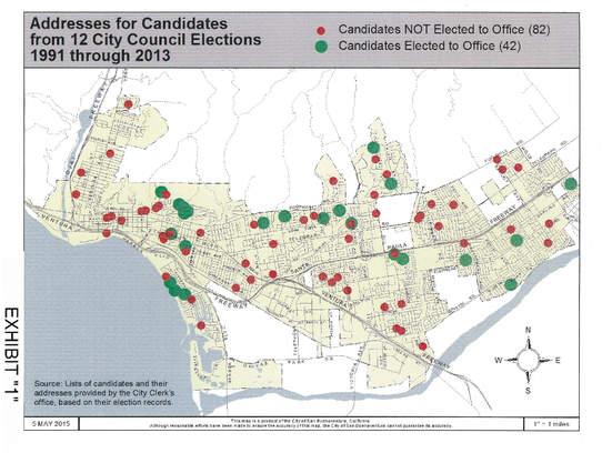 Map shows where City Council candidates and members
