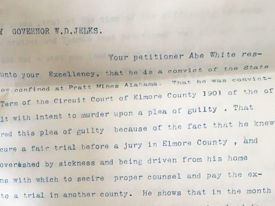 Abe White's 1902 letter to Gov. William Jelks seeking