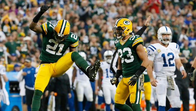 Green Bay Packers' Ha Ha Clinton-Dix celebrates after sacking Indianapolis Colts' Andrew Luck during the first half of an NFL football game Sunday, Nov. 6, 2016, in Green Bay, Wis.