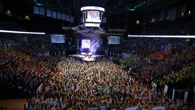 Students pack the Bryce Jordan Center at Penn State in 2017 for the first night of THON, a major fundraiser that supports children who have been diagnosed with cancer. This year's event starts Friday, Feb. 16.