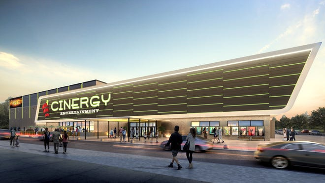 An artist's rendering shows a proposed Cinergy entertainment complex. Cinergy has plans to put cinema/game complexes in proposed shopping centers in East and West El Paso.
