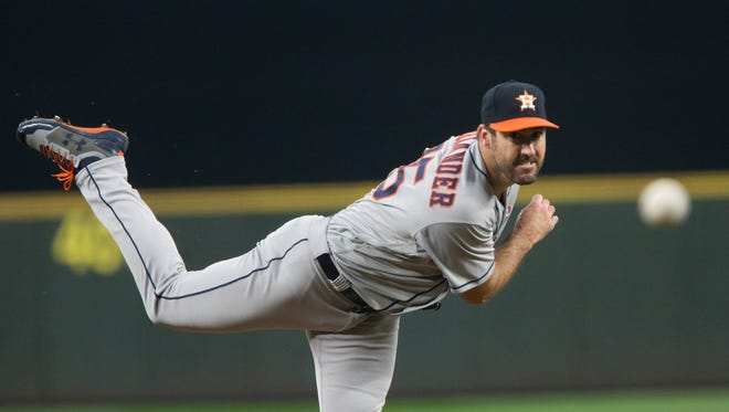 Justin Verlander was traded to the Astros from the Tigers last month.