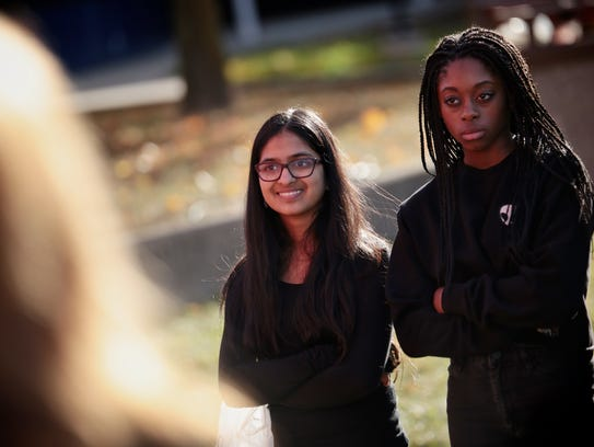Shruti Tirumala, 14, left, and Johari Summerville,