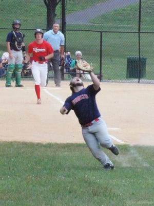 Waynesboro's Hunter Clever follows the path of the ball after hitting a pop up that landed foul during Thursday's Frederick Wood Bats League against Martinsburg at Memorial Park.