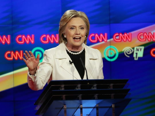 Hillary Clinton speaks during the Democratic debate