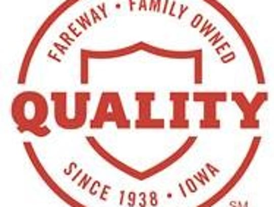 "The new Fareway ""Quality"" logo will be placed on items"