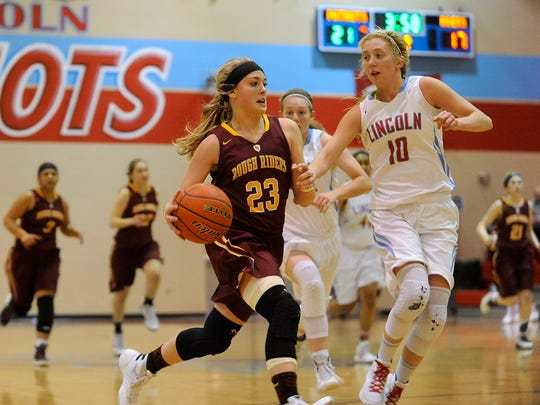 Roosevelt's #23 Tahia Mitzel drives down the court against Lincoln's #10 Anna Brecht during girls basketball action at Lincoln High School in Sioux Falls, S.D., Thursday, Feb. 18, 2016.
