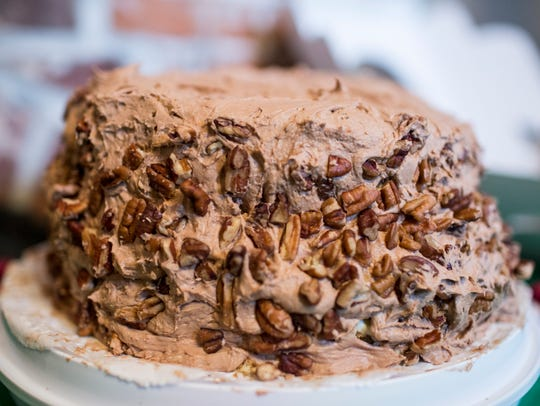 September 14, 2017 - A mocha cake is seen during a