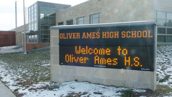A January 2013 file photo of the exterior of Oliver Ames High School in Easton.