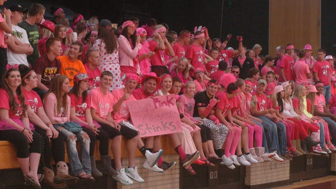 L-C student section at the annual Pink Out volleyball game on Sept. 25.