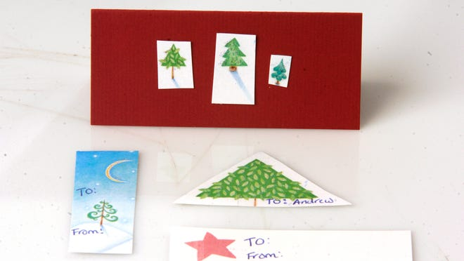 This year's Christmas cards can be made into name tags or Christmas cards for gifts next year.