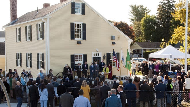 Deborah Packard, executive director of Preservation Worcester, speaks during the grand opening of Stearns Tavern at Coes Park on Oct. 15, 2019.